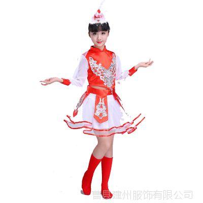 新款少数民族少儿童蒙族舞蹈裙子幼儿园蒙古族女孩表演出服装女童