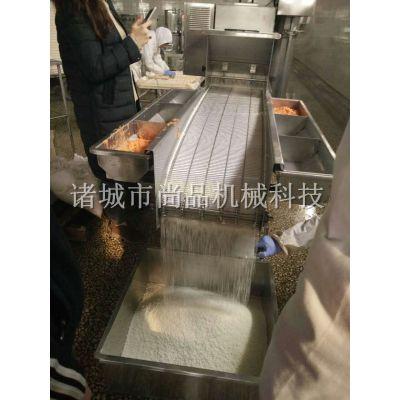 裹浆虾排上糠机 不锈钢虾饼裹面包糠机 速冻调理品自动上糠上屑机