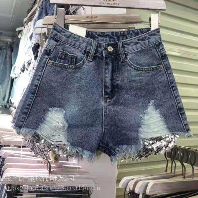 贵州遵义市仁怀市哪里有便宜几块钱的牛仔短裤批发韩版时尚潮流牛仔短裤批发