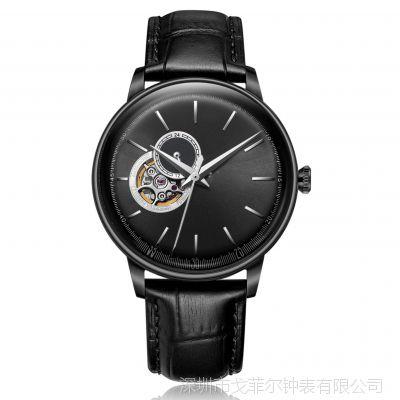 手表定制不锈钢男士手表时尚全自动机械表真皮带防水镂空男表
