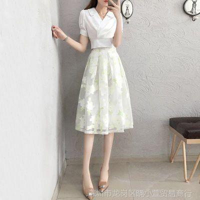 衬衫配裙子2018新款春装时髦小清新韩版两件套装连衣裙女夏季甜美