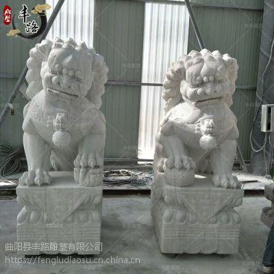 供应高2.2米汉白玉青石狮子一对 家用祠堂墓地狮子