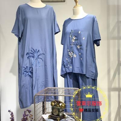 广州谷度休闲品牌中国花刺绣风连衣裙套装货源批发渠道多种风格新款组合包