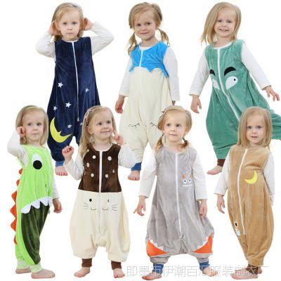 外贸法兰绒宝宝防踢被睡衣ins春夏季薄款无袖儿童卡通睡袋