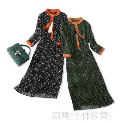 18夏季新品 优雅复古 撞色领口飘带 收腰修身波点百褶真丝连衣裙