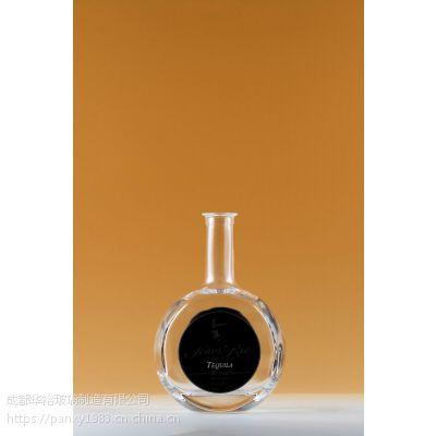厂家定制生产晶质料玻璃酒瓶可蒙砂喷漆烤标印logo