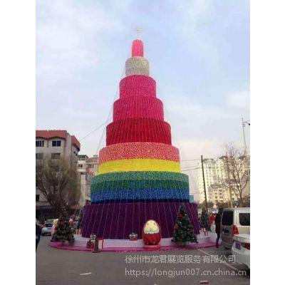 定制发光特大型户外15米新款创意仿真圣诞节树框架商场酒店装饰