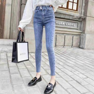 最畅销的小脚女装库存韩版牛仔裤批发