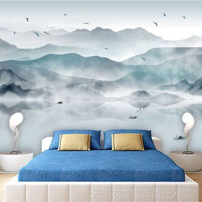 大型壁画墙布工装新中式禅意壁纸水墨山水画意境云雾电视背景墙纸