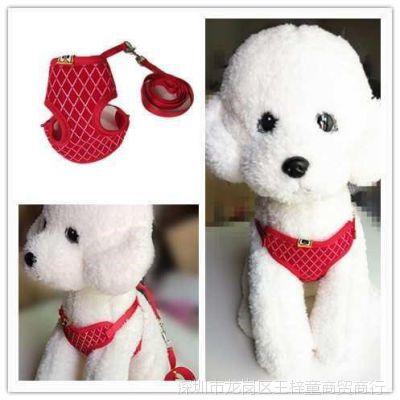 夏季耐用背心式狗狗犬可爱牵引绳博美溜防宠物咬断幼犬小狗小型犬