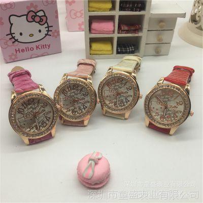 新款韩版可爱hellokitty儿童手表 防水镶钻女童公主表学生表