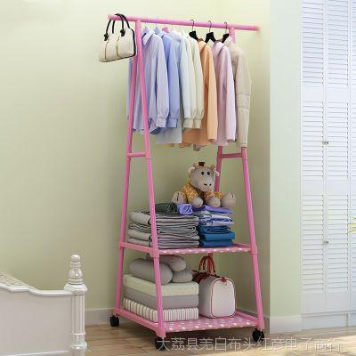 迷你小号挂晒简易组装晾衣架杆落地单杆式家用卧室内宝宝宿舍寝室