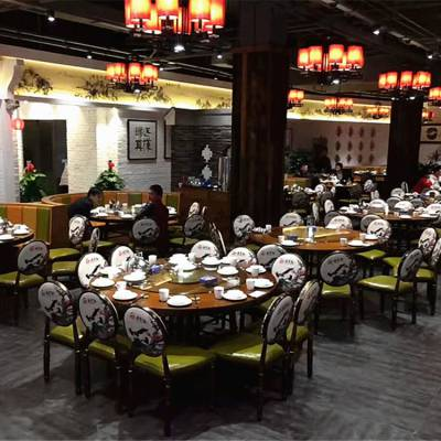 中餐厅圆桌椅子批发,大型中餐菜馆家私定制
