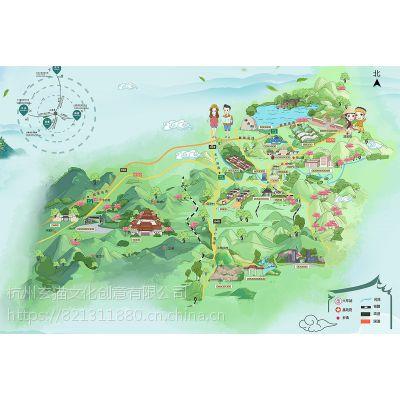 杭州地图景区导览手绘地产制作地图转正图设计景点公司景观设计绘制图片