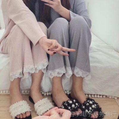 秋冬睡衣套装女纯棉蕾丝花边长袖家居服韩版休闲两件套批发