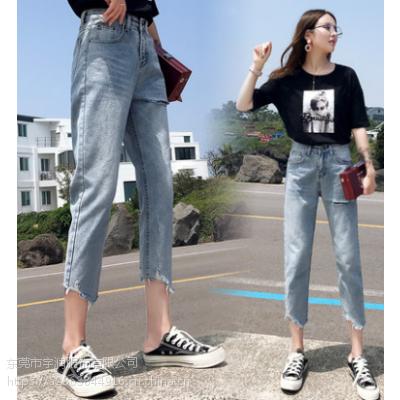 广州沙河便宜牛仔裤几元库存服装女装牛仔裤清货2-5元尾货批发