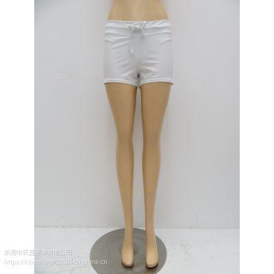 女士纯色双层泳裤腰带绑绳款泳裤
