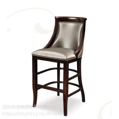 吧台椅欧式实木简约酒吧凳前台餐厅高脚凳家用靠背酒吧椅