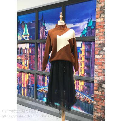 欧兰卡冬季新款安哥拉山羊毛衫批发 品牌女装折扣店货源尾货走份