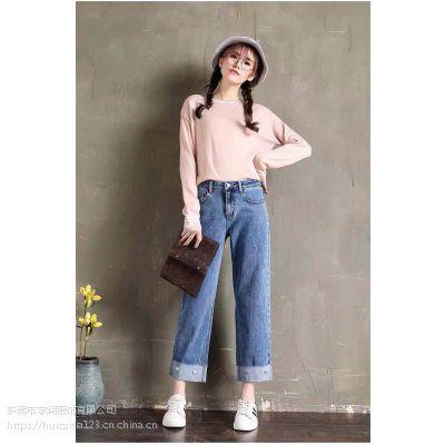 2019广东服装批发市场最畅销穿韩版女装阔腿牛仔裤超低价供应