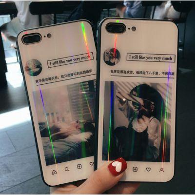 慕碧ins性冷淡风oppo手机壳炫彩镭射玻璃手机套