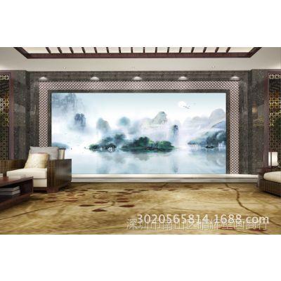 水墨国画大型壁画客厅电视墙中国风背景墙纸中式复古山水名画壁纸
