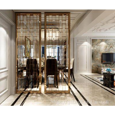 红古铜不锈钢隔断 酒店定制中式304拉丝不锈钢玄关屏风 厂家直销