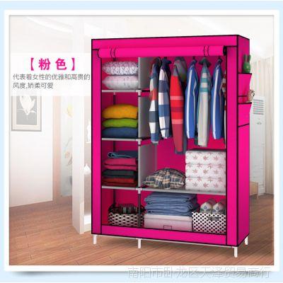 衣物收纳柜简易衣柜衣橱整理衣柜挂衣服架柜全国包邮折叠组装钢架