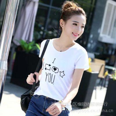 特价短袖t恤女装夏季韩版白色磨毛百搭印花学生半袖上衣服装批发