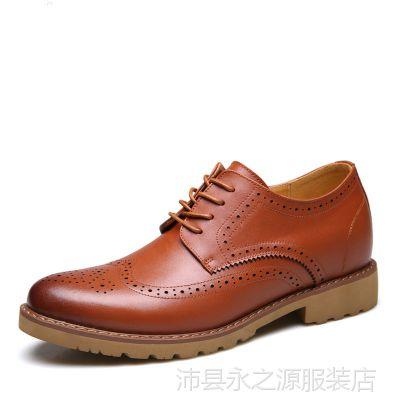2018秋冬新品男士真皮布洛克单鞋隐形内增高休闲男鞋时尚皮鞋鞋子