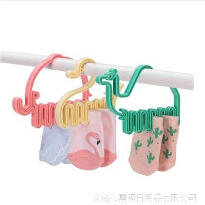 动物造型迷你宝宝袜子夹塑料晾衣架晒袜子塑料多夹子衣架