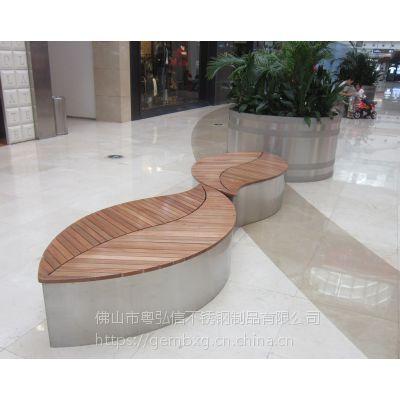 不锈钢户外座凳 公园长椅室外景观休闲椅 广场防腐木不锈钢休闲座椅