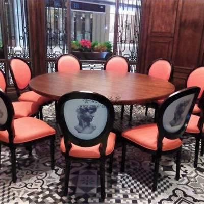 仁怀市工业风菜馆圆桌椅子组合,时尚个性菜馆家具系列