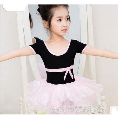 儿童舞蹈服长袖秋季幼儿芭蕾舞裙女童舞蹈服装练功服连体印字批发