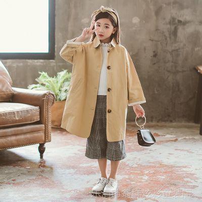 女童风衣外套小女孩韩版春秋中大童中长款洋气2018新款潮一件代发