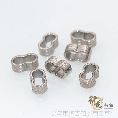diy饰品材料钛钢配件压花双孔套管卡箍手链皮绳项链不锈钢配件B84