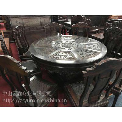 中山红木家具低价出售大红酸枝餐桌云鑫臻品