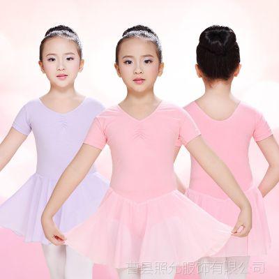 幼儿童舞蹈服装练功服考级服女童春秋芭蕾舞裙短袖小孩跳舞衣服女
