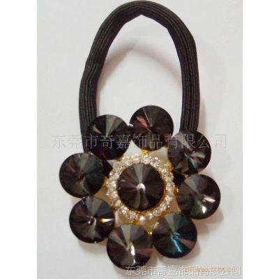 厂家供应 新款时尚蝴蝶结粘钻发绳发夹金属发饰