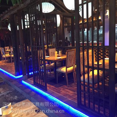 中式湘菜风格餐厅桌椅组合爱上饭餐厅餐桌椅