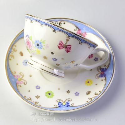 唐山亿美陶瓷咖啡杯碟套装 欧式骨瓷咖啡杯碟下午茶办公礼品杯子定制logo