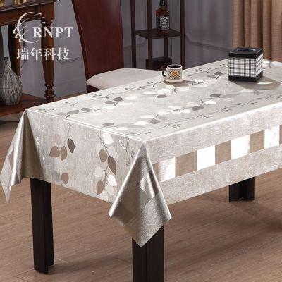 RNPT瑞年厂销 高档提花桌布拉丝金属台布PVC防水桌布