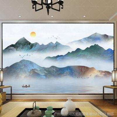 新中式抽象石纹山水艺术3d电视沙发背景墙大型装饰画墙纸壁纸壁画