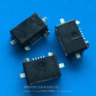 防水MICRO USB 5P母座 反向沉板 B型平口 二脚贴板 黑色胶芯