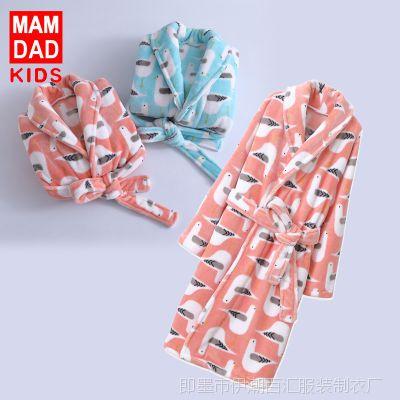 儿童法兰绒睡衣睡袍秋冬款加绒加厚 爸妈亲男童女童家居服空调服