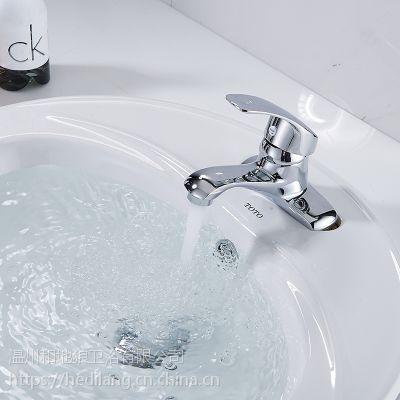 和地狼面盆龙头卫生间洗手双联铜加厚单把双孔老式冷热水jh-8010