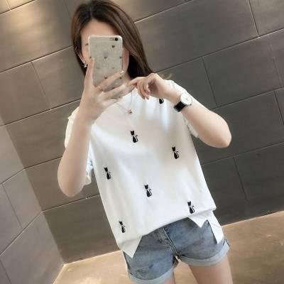 2019纯棉时尚女装短袖批发 韩版女式T恤小衫半袖货源