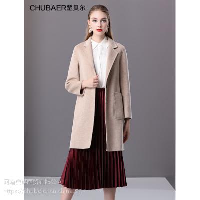 楚贝尔2018秋冬羊毛大衣女中长款浅驼色双面毛呢时尚修身大衣外套