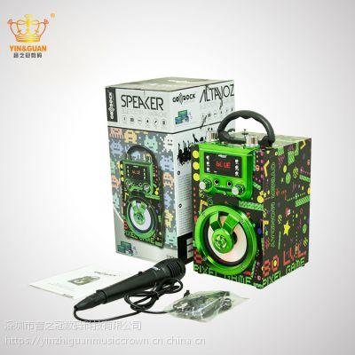 外贸现货 无线蓝牙音箱 家庭户外便携式圣诞节礼品音箱 大功率卡拉OK音箱