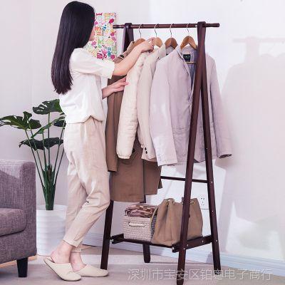 创意衣帽架家用衣服架子落地挂衣架卧室客厅时尚实木折叠放置物架